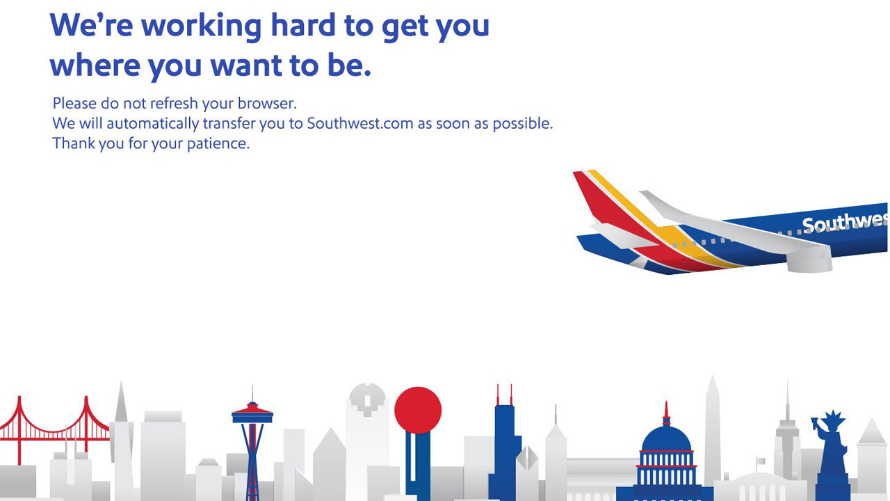 Southwest Airline\'s website goes down