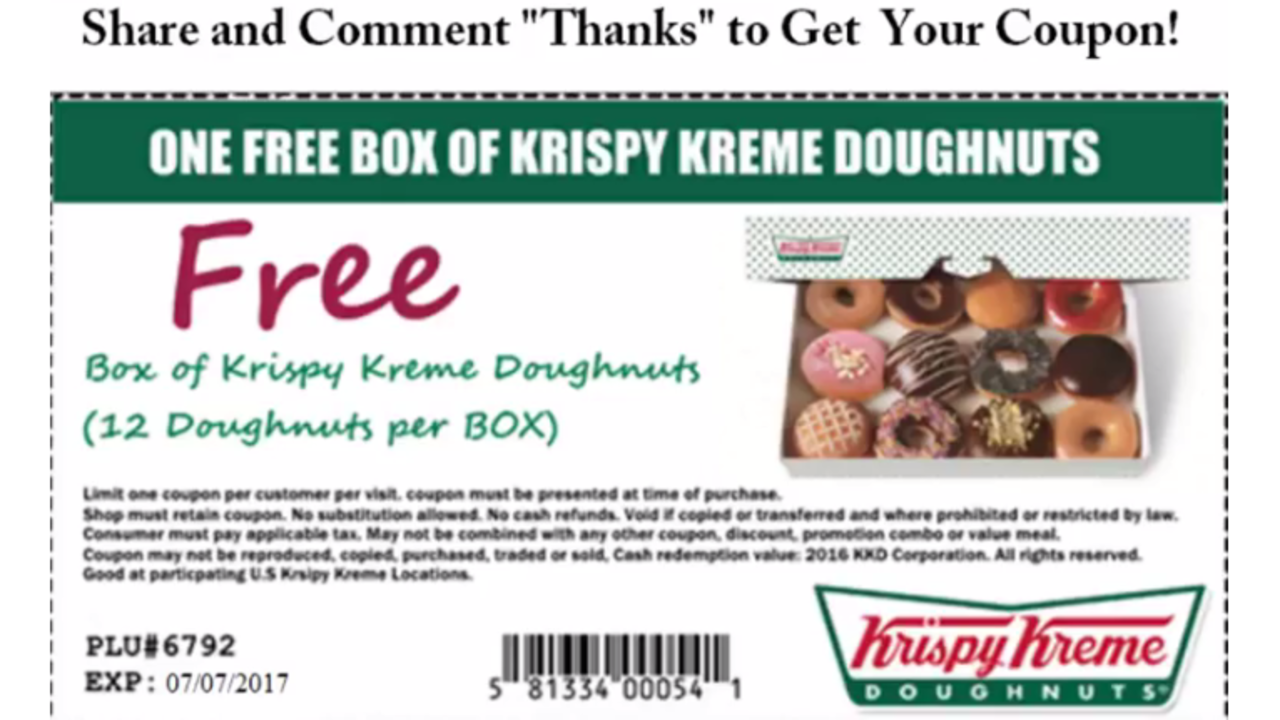Krispy Kreme warns of fake viral coupon