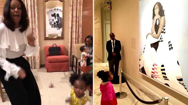 Michelle Obama Dances with Little Girl Awestruck by Former First Lady's Official Portrait