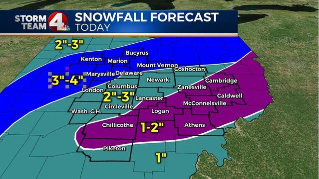 Snow will linger through Wednesday midday