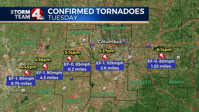 Five tornadoes confirmed in Ohio on 44th anniversary of Xenia disaster