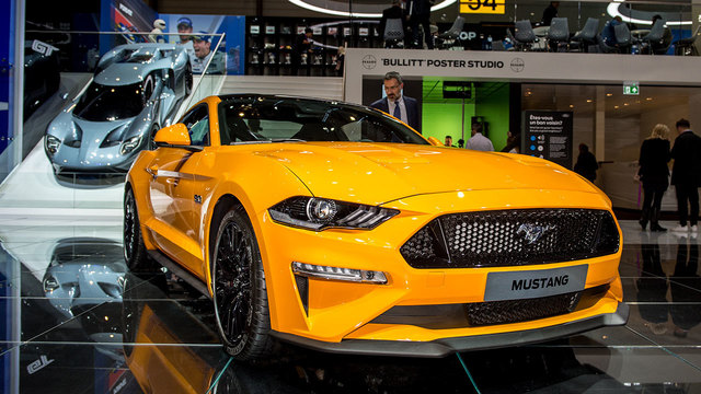 GENEVA, SWITZERLAND - MARCH 07: Ford Mustang is displayed at the 88th Geneva International Motor Show on March 7, 2018 in Geneva, Switzerland. Photo by Robert Hradil/Getty Images)