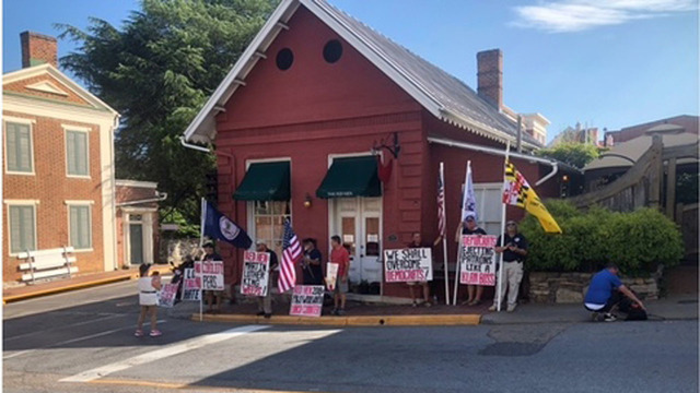 Group gathers to protest Red Hen restaurant for expected re-opening day