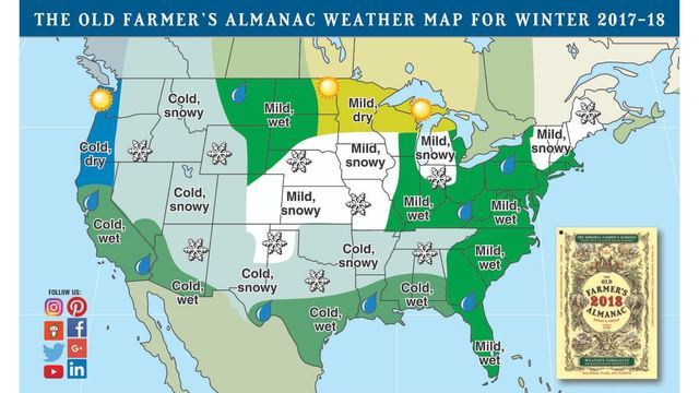 Farmers' Almanac predicts 'cold and white' winter