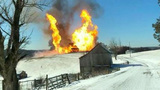 Gas line fire in Noble County