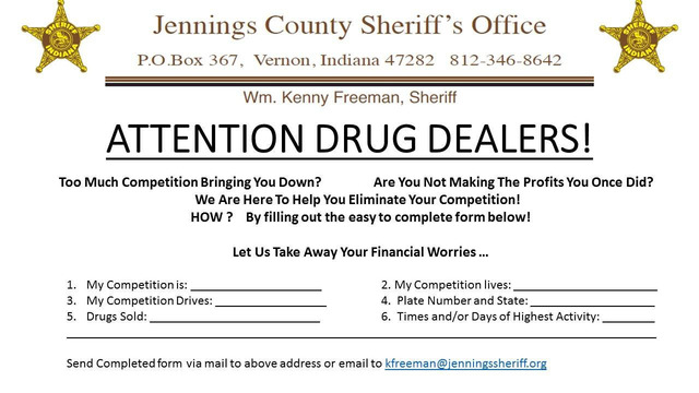 Sheriff's office encourages drug dealers to rat out competition